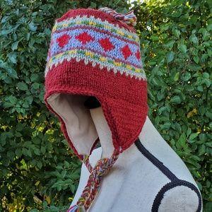 🥀Nepalese 100% Wool Sherpa Beanie Earflap Hat L